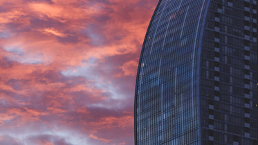 pink sky with skyscraper