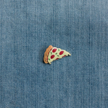 pizza enamel pin denim
