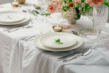 place setting on white table