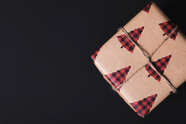 plaid tree wrapping paper on gift