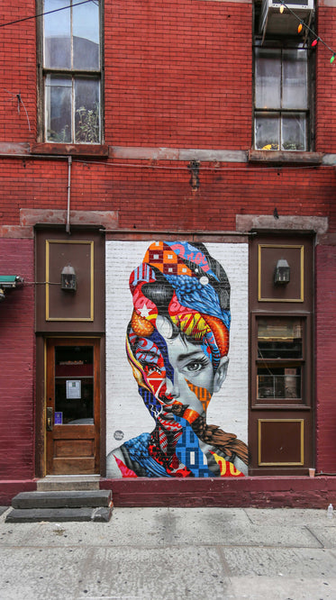 portrait of a woman painted on wall