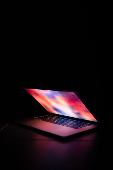 portrait of illuminated laptop