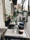 potted plants and coffee cups on patio
