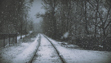 puffy snowflakes cover retired railroad tracks along path