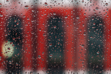 rainy window with red streetcar