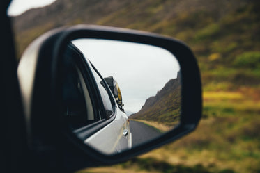 rear view mirror on highway