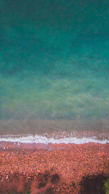 red and blue shoreline iphone screen