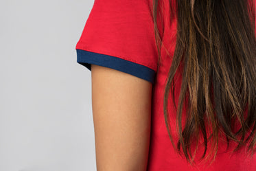 red and navy tee sleeve