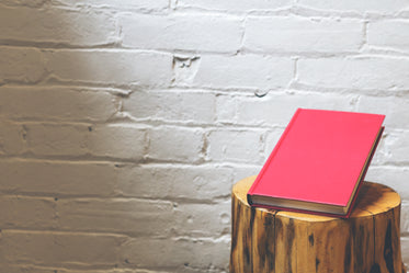 Hardcover magenta book on wooden furniture on a white brick wall background