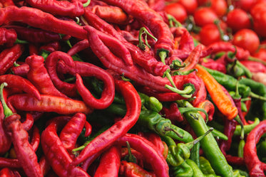 red green pepper pile