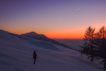 red sky and snow