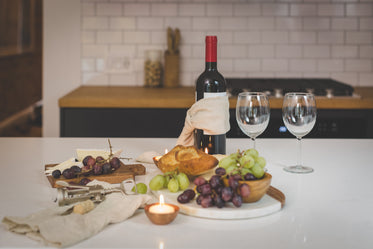 red wine and appetizers