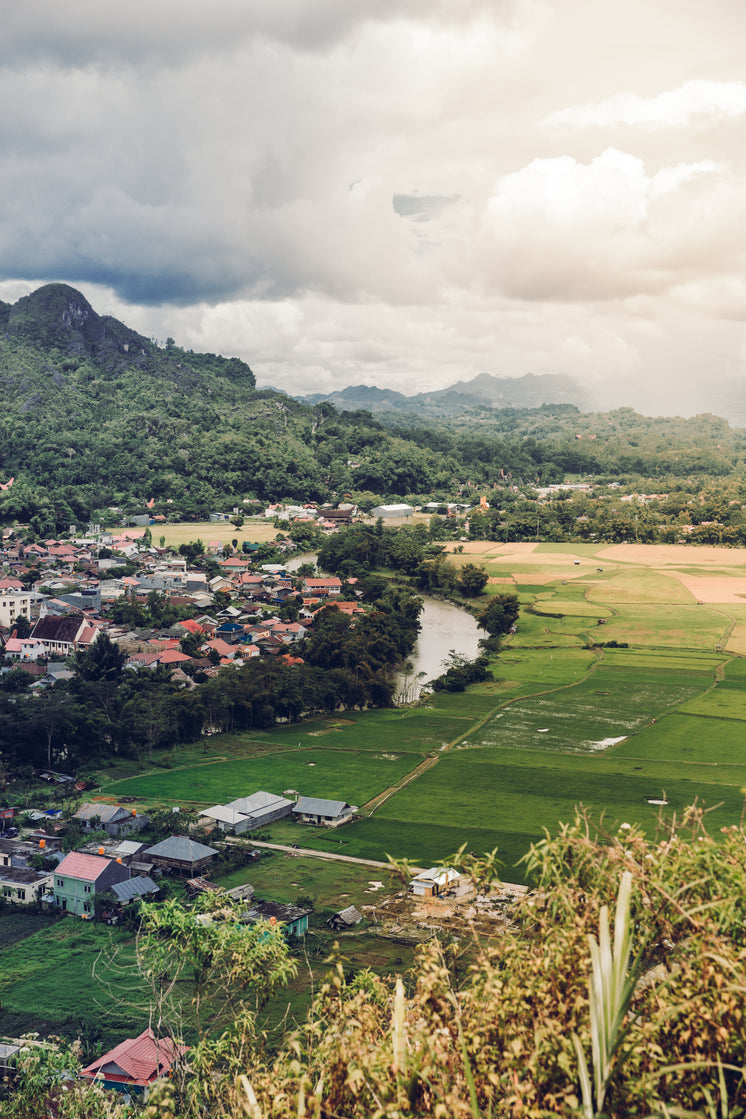 River Separates Community Of Houses From Rice Paddies