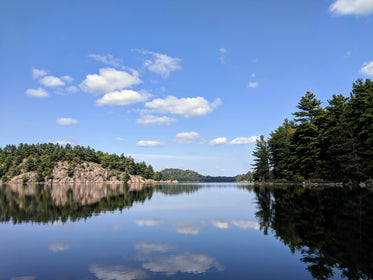 rocks and trees reflected on the calm lake