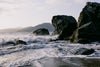 rocky california shore with waves