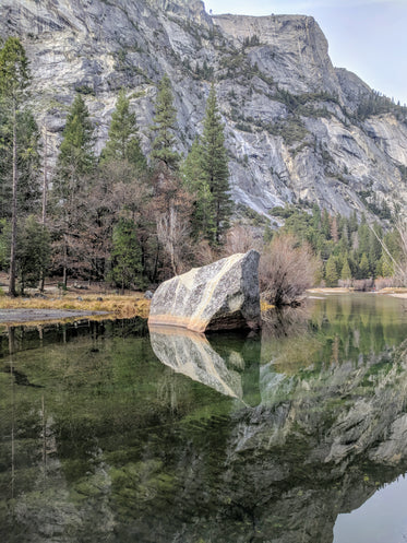 rocky reflection by mountain