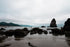 rocky shore and low clouds