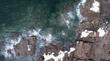 rocky shore drone photography