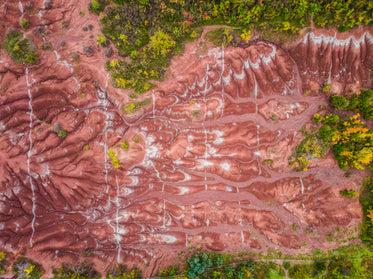 rolling hills and textures of red soil