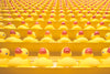 rows of yellow toy ducks