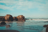 sandy beach and large cliffs