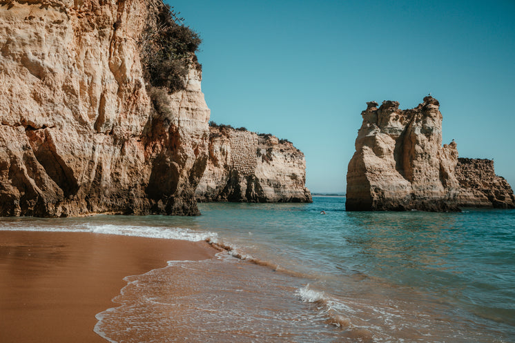 Sandy Beach By Rocky Cliffs