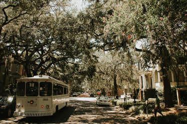 savannah georgia trolly on street