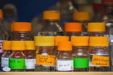 science lab chemical bottles