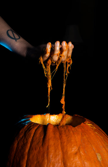 scooping guts out of a pumpkin