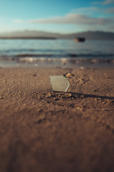 sea glass in the sand