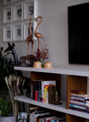 section of a persons sitting room with a white bookshelf