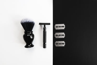 shaving tools on black and white