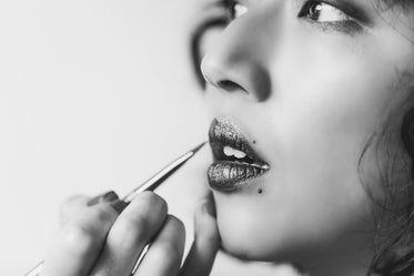 shiny lipstick in black and white