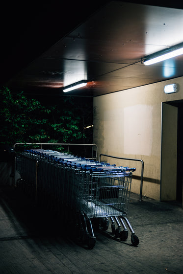 shopping carts parked outdoors beside a cement wall