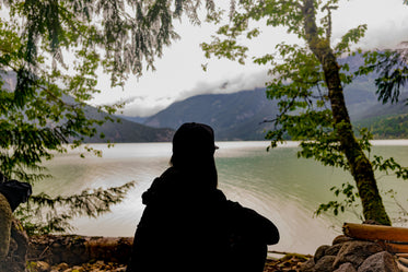 silhouette of a young person looking at the landscape