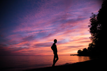 silhouette with pink and purple sky