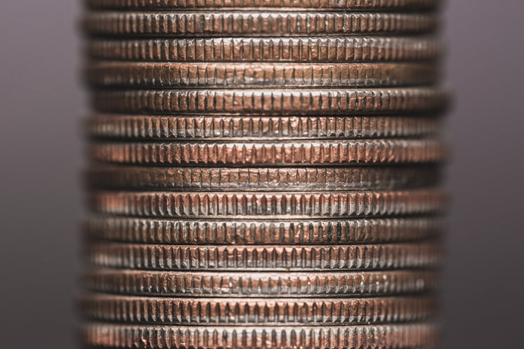 Silver Coin Stack Close Up