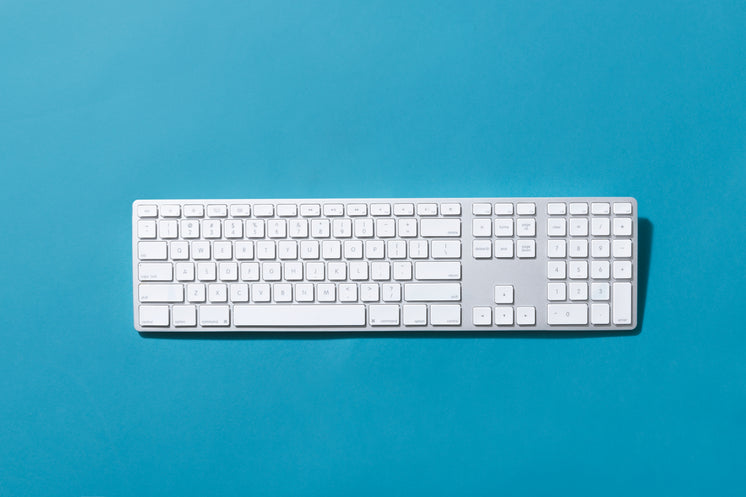 Silver Keyboard On Blue Background
