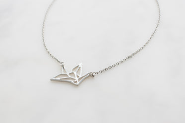 silver origami necklace