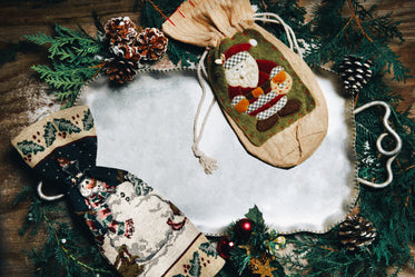silver tray with christmas decorations