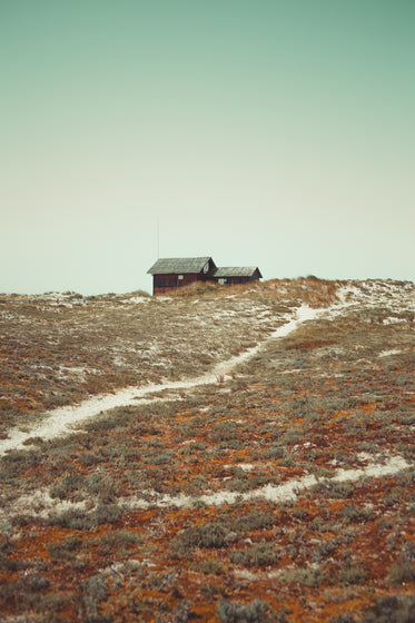 small cabin on hill