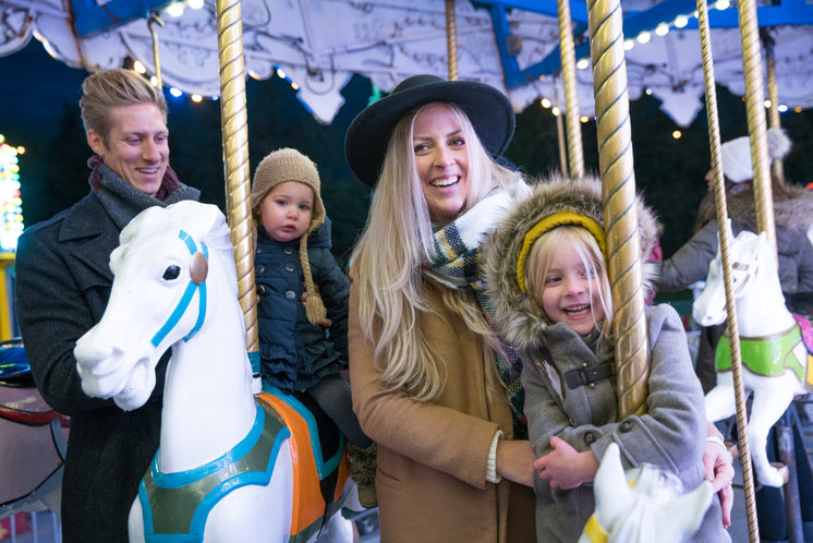 Smiling Family On Merry Go Round