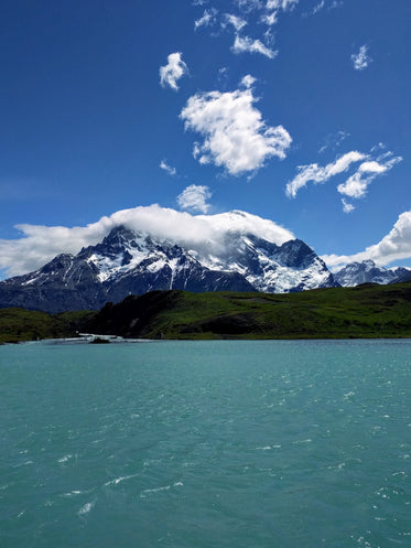 snow capped maountain peaks fresh water
