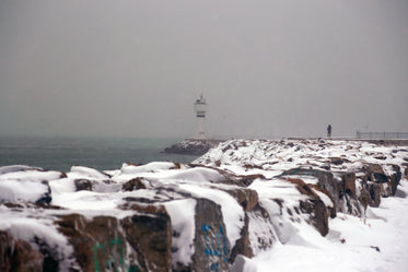 snow covered rocks and a lighthouse in frame