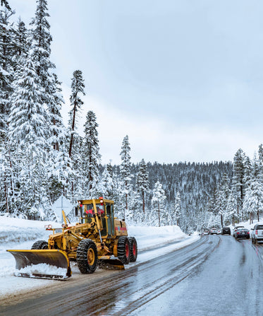 snow plough on forest road