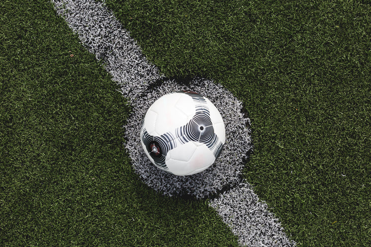 Soccer Ball Lined Up For Kick