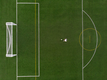 soccer player in penalty position drone view