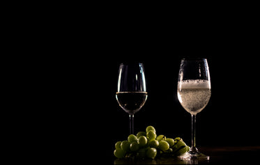 sparkling white wine and grapes