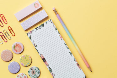 stationery and pin badges