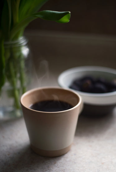 steaming cup of black coffee sits on a kitchen counter